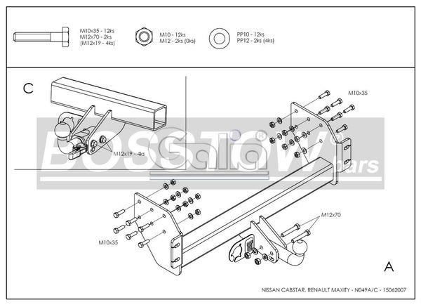 Anhängerkupplung für Renault-Maxity - 2007-2014 Pritsche Ausf.:  feststehend