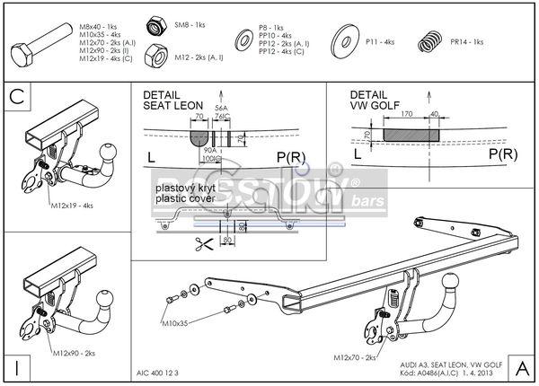 Anhängerkupplung für Seat-Leon - 2012-2014 Fließheck Typ 5F Ausf.:  feststehend