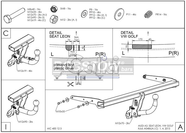 Anhängerkupplung für Seat-Leon - 2014-2017 Fließheck Typ 5F Ausf.:  feststehend