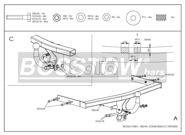 Anhängerkupplung für Skoda-Fabia - 2001-2007 Kombi, inkl. Praktik, nicht GT Ausf.:  feststehend