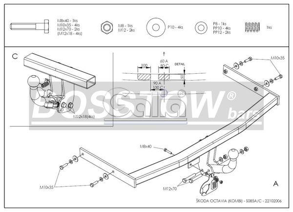 Anhängerkupplung für Skoda-Octavia - 1998-2010 1U Kombi, nicht 4x4, nicht RS Ausf.:  feststehend
