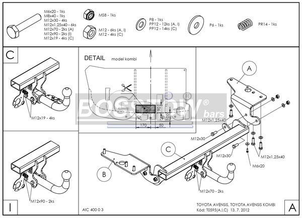 Anhängerkupplung für Toyota-Avensis - 2009- T27, Limousine Ausf.:  feststehend