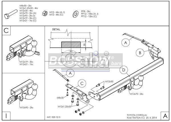 Anhängerkupplung für Toyota-Corolla - 2004- (E12) Fließheck Ausf.:  feststehend