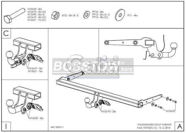 Anhängerkupplung für VW-Golf - 2012-2014 VII Variant Ausf.:  feststehend