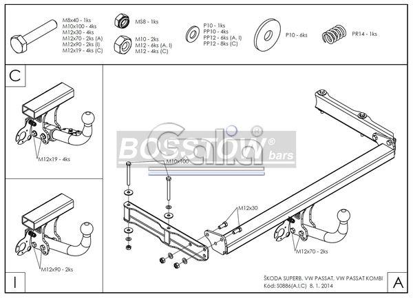 Anhängerkupplung VW-Passat 3b, nicht 4-Motion, Variant, Baujahr 2000-