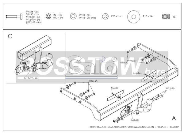 Anhängerkupplung für VW-Sharan - 2000-2006 inkl. 4x4 Ausf.:  feststehend