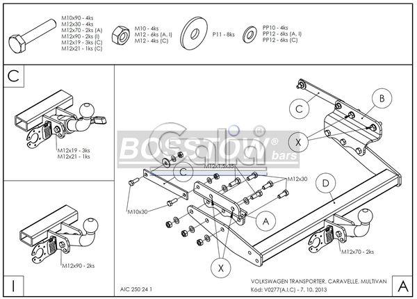 Anhängerkupplung für VW-Transporter - 1998- T4, Kasten Bus Syncro, inkl. Caravelle Multivan Ausf.:  feststehend