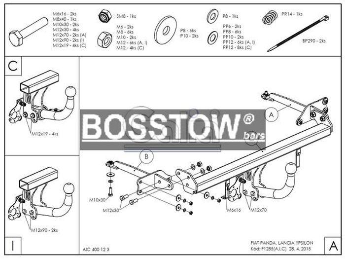 Anhängerkupplung für Lancia-Ypsilon - 2011- 846, nicht 4x4, bitte vorab Fzg. auf Anhängelastfreigabe prüfen Ausf.:  horizontal