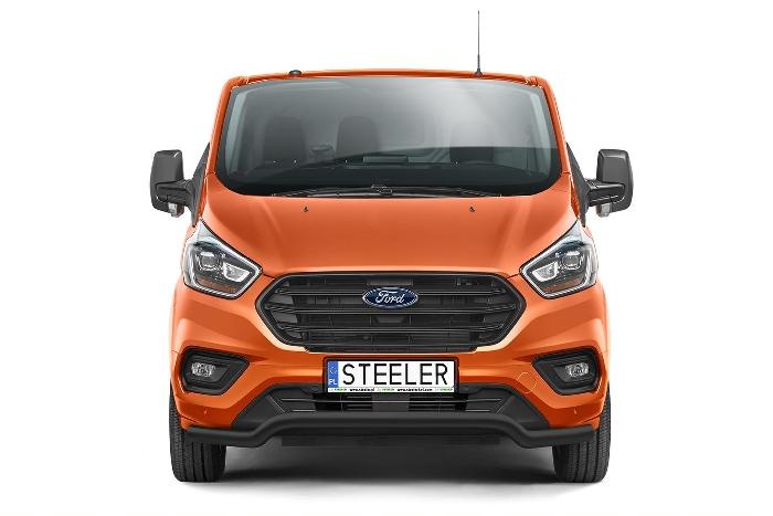 Frontschutzbügel Kuhfänger Bullfänger Ford Transit Custom 2018-, Sportbar 70mm, schwarz beschichtet
