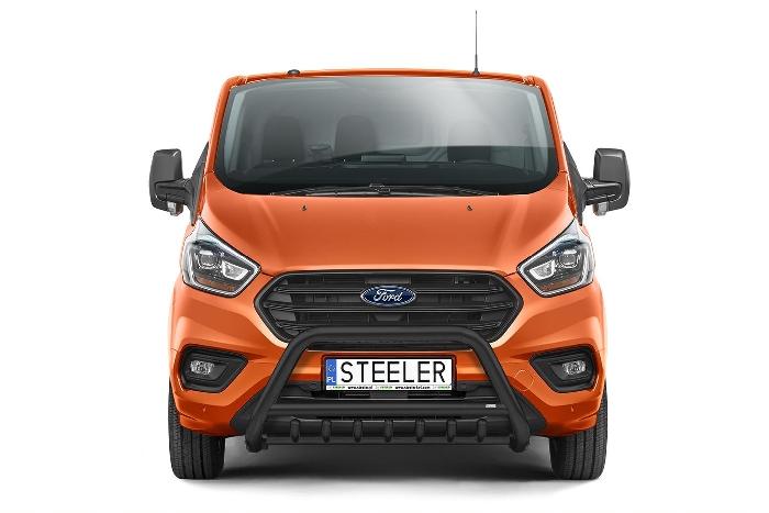 Frontschutzbügel Kuhfänger Bullfänger Ford Transit Custom 2018-, Steelbar QRU 70mm, schwarz beschichtet