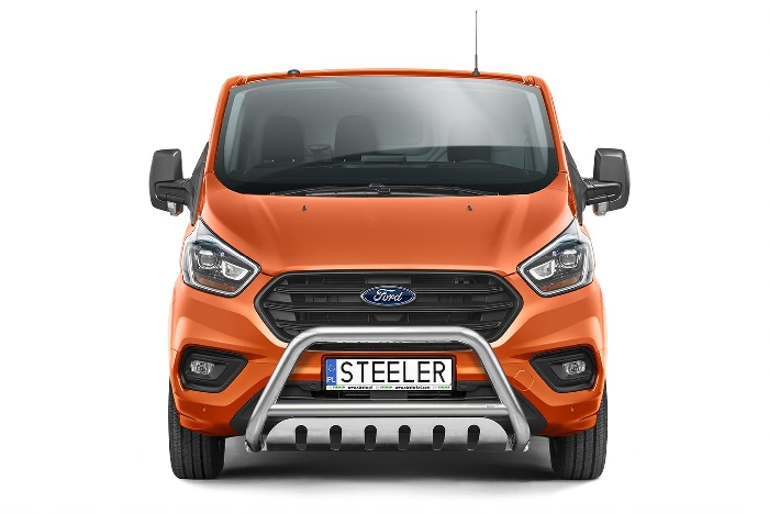 Frontschutzbügel Kuhfänger Bullfänger Ford Transit Custom 2018-, Steelbar QFU 70mm