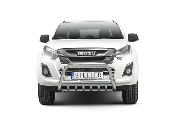 Frontschutzbügel Kuhfänger Bullfänger Isuzu D-Max Space Cab Version 2012-2017, Steelbar QRU 70mm, schwarz beschichtet