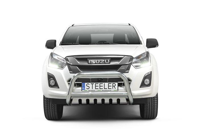Frontschutzbügel Kuhfänger Bullfänger Isuzu D-Max Space Cab 2012-2017, Steelbar QFU 70mm, schwarz beschichtet