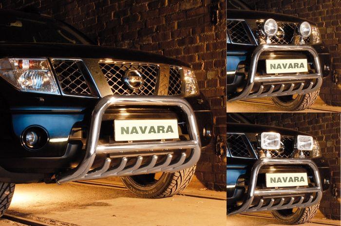 Frontschutzbügel Kuhfänger Bullfänger Nissan Navara 2010-2015, Steelbar QRU 70mm, schwarz beschichtet