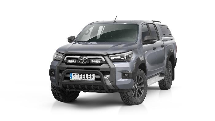 Frontschutzbügel Kuhfänger Bullfänger Toyota Hi-Lux Invincible 2021-, Steelbar QRU 70mm, schwarz beschichtet