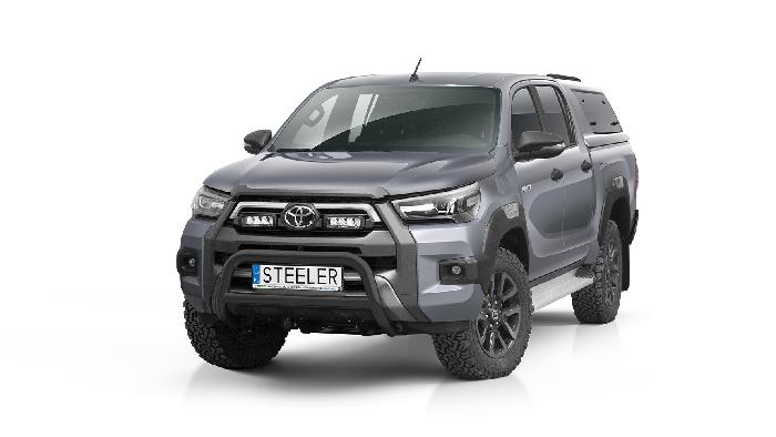 Frontschutzbügel Kuhfänger Bullfänger Toyota Hi-Lux Invincible 2021-, Steelbar Q 70mm, schwarz beschichtet