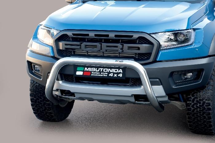 Frontschutzbügel Kuhfänger Bullfänger Ford Ranger Raptor 2019-, Super Bar 76mm Edelstahl Omologato Inox