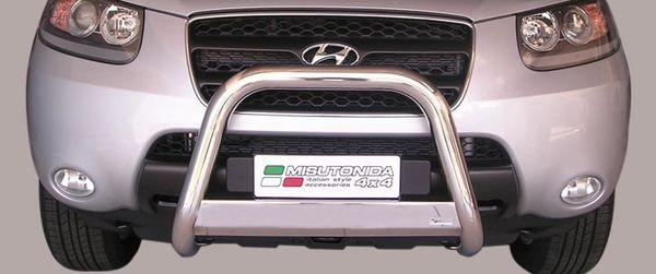 Frontschutzbügel Kuhfänger Bullfänger Hyundai Santa Fe 2006-2010, Medium Bar 63mm Edelstahl Omologato Inox