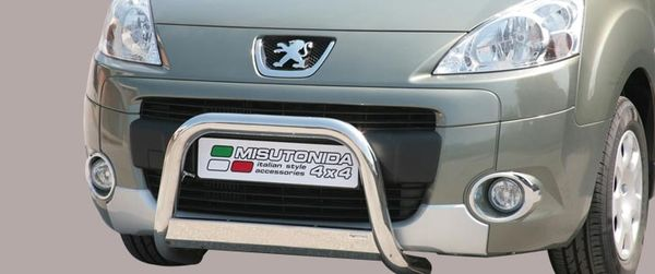 Frontschutzbügel Kuhfänger Bullfänger Peugeot Partner 2008-2015, Medium Bar 63mm Edelstahl Omologato Inox