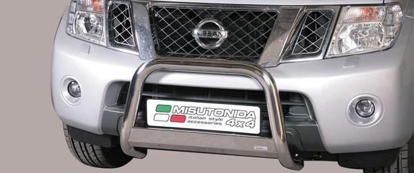 Frontschutzbügel Kuhfänger Bullfänger Nissan Navara 2010-2015, Medium Bar 63mm Edelstahl Omologato Inox