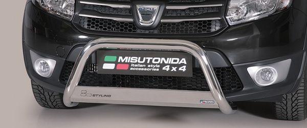 Frontschutzbügel Kuhfänger Bullfänger Dacia Sandero Stepway 2013-, Medium Bar 63mm Edelstahl Omologato Inox