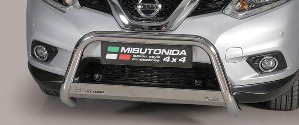 Frontschutzbügel Kuhfänger Bullfänger Nissan X-Trail 2015-2017, Medium Bar 63mm Edelstahl Omologato Inox