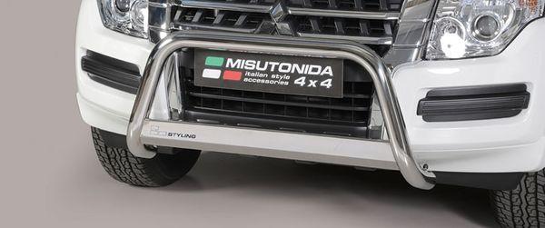 Frontschutzbügel Kuhfänger Bullfänger Mitsubishi Pajero 3-türig 2014-, Medium Bar 63mm Edelstahl Omologato Inox