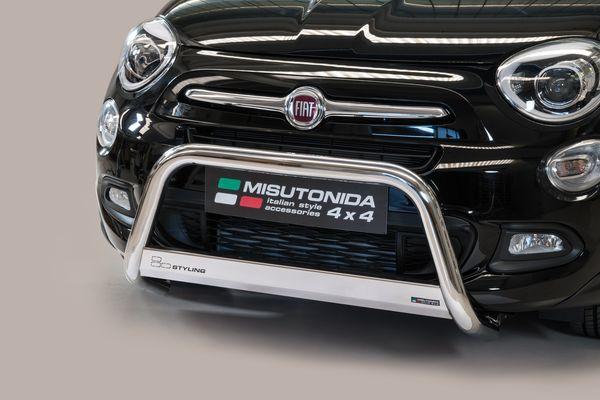 Frontschutzbügel Kuhfänger Bullfänger Fiat 500 X 2014-, Medium Bar 63mm Edelstahl Omologato Inox