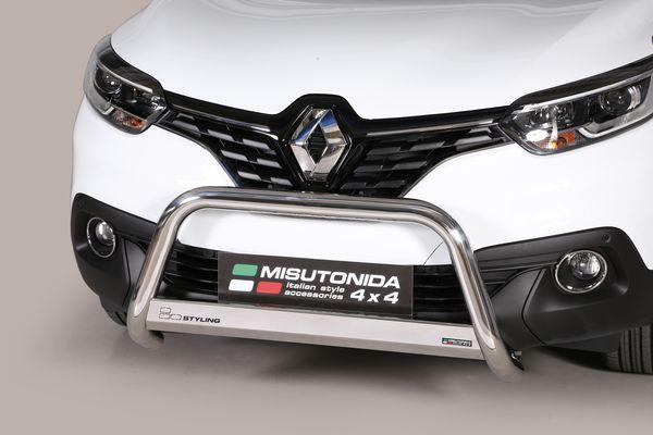 Frontschutzbügel Kuhfänger Bullfänger Renault Kadjar 2016-2018, Medium Bar 63mm Edelstahl Omologato Inox