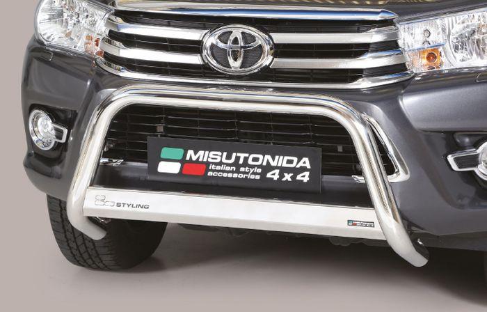Frontschutzbügel Kuhfänger Bullfänger Toyota Hi-Lux 2015-2018, Medium Bar 63mm Edelstahl Omologato Inox