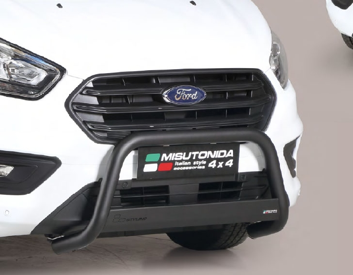 Frontschutzbügel Kuhfänger Bullfänger Ford Transit Custom L1 2018-, Medium Bar 63mm Edelstahl Omologato Inox schwarz pulverbeschichtet