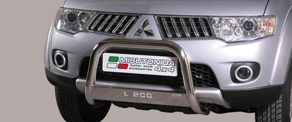 Frontschutzbügel Kuhfänger Bullfänger Mitsubishi L200 Double Cab 2010-2015, Medium Bar Mark 63mm Edelstahl Omologato Inox