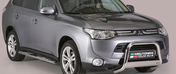 Frontschutzbügel Kuhfänger Bullfänger Mitsubishi Outlander 2013-2015, Medium Bar Mark 63mm Edelstahl Omologato Inox