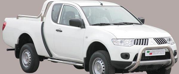 Frontschutzbügel Kuhfänger Bullfänger Mitsubishi L200 Club Cab 2010-2015, Super Bar 76mm Edelstahl Omologato Inox