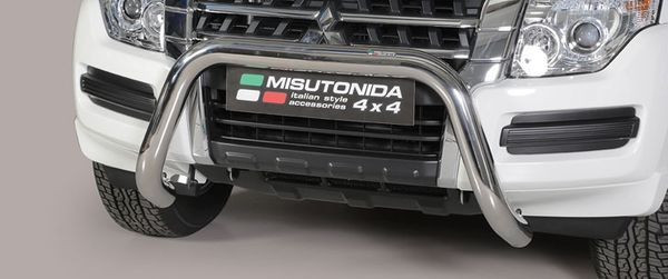 Frontschutzbügel Kuhfänger Bullfänger Mitsubishi Pajero 3-türig 2014-, Super Bar 76mm Edelstahl Omologato Inox
