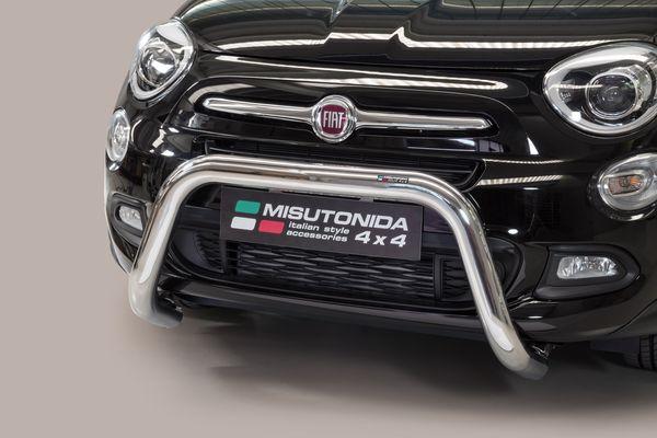 Frontschutzbügel Kuhfänger Bullfänger Fiat 500 X 2014-, Super Bar 76mm Edelstahl Omologato Inox