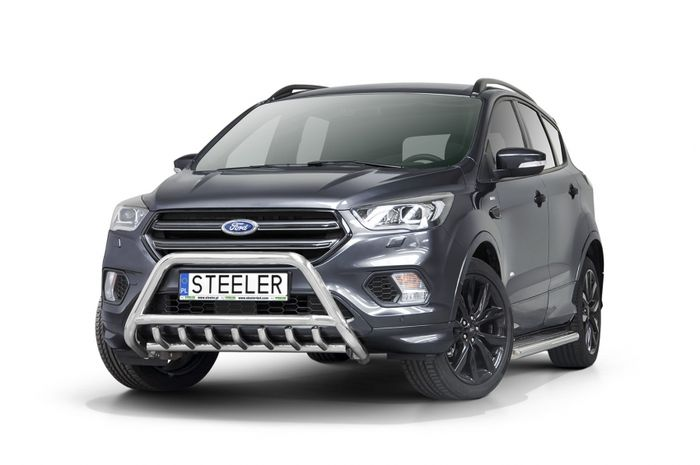 Frontschutzbügel Kuhfänger Bullfänger Ford Kuga 2017-, Steelbar QRU 60mm, schwarz beschichtet