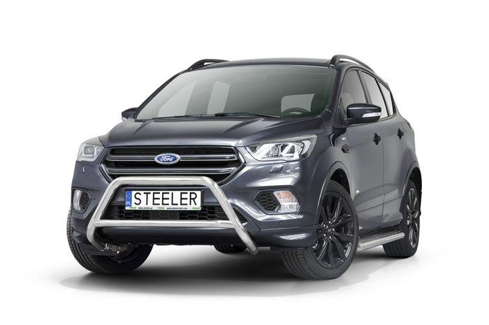Frontschutzbügel Kuhfänger Bullfänger Ford Kuga 2017-, Steelbar Q 60mm, schwarz beschichtet