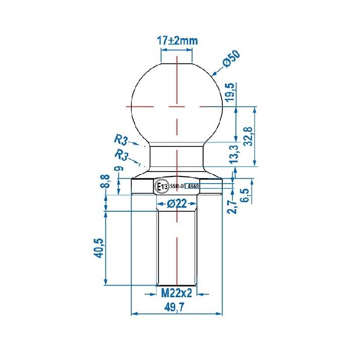 Kupplungskugel 50 mm, bis 2000kg EG