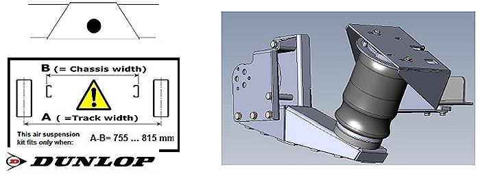 ALKO ( AL-KO )- Chassis- 2011- Standard Radaufnahme- ohne ALC Level Control, Einzelachse- Breitspur, spez. für auflaufendes Chassis, Zweikreis Zusatz-Luftfederanlage, syst. LF3, inkl Montage