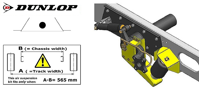 Luftfederung für ALKO ( AL-KO )- Chassis- 2011- Standard Radaufnahme- ohne ALC Level Control, Einzelachse, spez. für auflaufendes Chassis, Zweikreis Zusatz-Luftfederanlage, syst. LF3