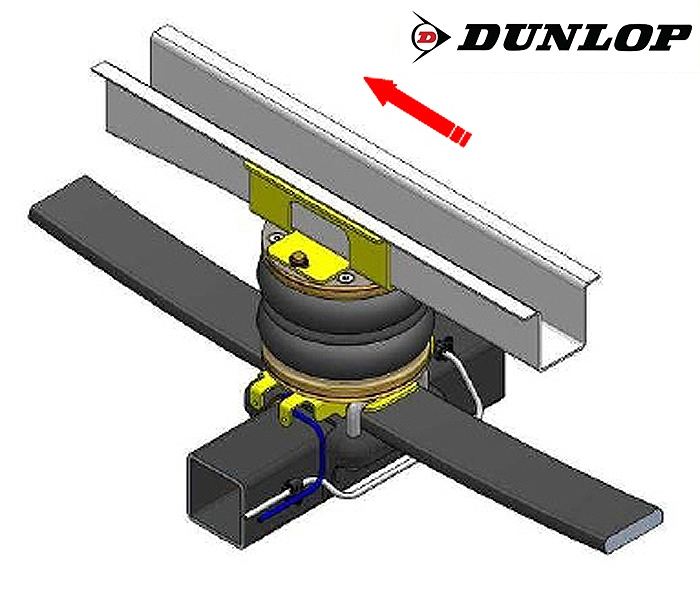 Citroen Jumper Eurochassis 244 (2002-2005), Zusatz-Luftfederung 8 Zoll Zweikreis Doppelfaltenbalg- Anlage Dunlop, syst. LF3