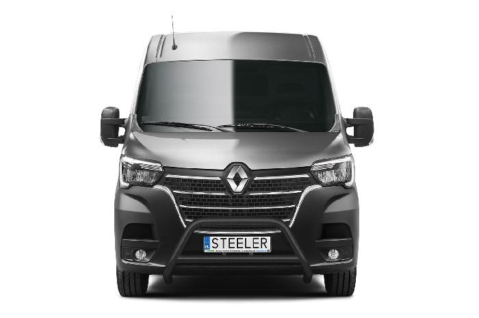 Frontschutzbügel Kuhfänger Bullfänger Renault Master 2019-, Steelbar Q 70mm, schwarz beschichtet