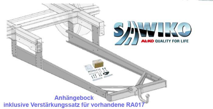 Anhängerkupplung Typ Sawiko 017B, f. Wohnmobile mit Rahmenverlängerung, die einen Verstärkungskit erfordern- D 12,5kN