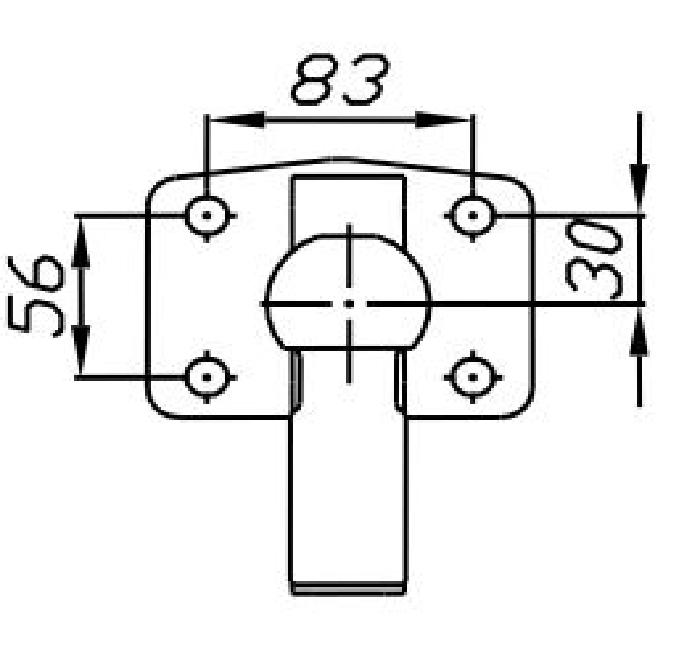 Kupplungskugel- 4- Loch 30mm unter, 23,5kN