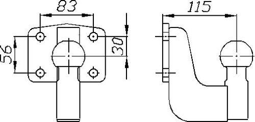 Kupplungskugel- 4- Loch 30mm unter, 22,7kN