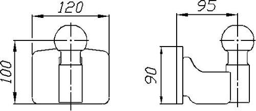 Kupplungskugel- 4- Loch 55mm über, 22,7kN
