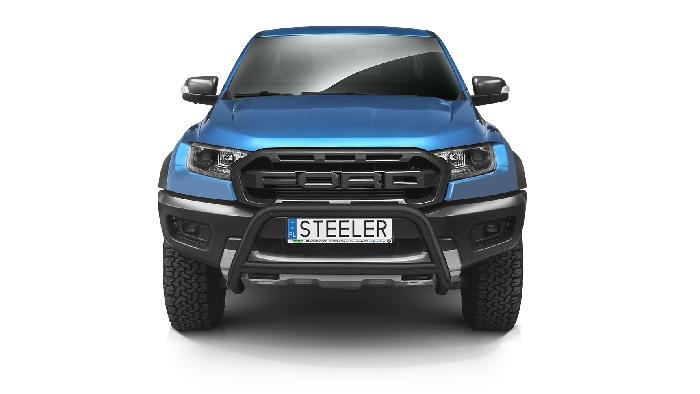 Frontschutzbügel Kuhfänger Bullfänger Ford Ranger Raptor 2019-, Steelbar Q 70mm, schwarz beschichtet