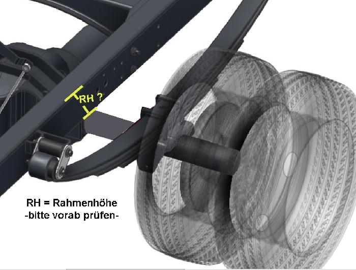 Iveco Daily 35C-50C Bj. 2006-2014, Zusatz-Luftfederung 8 Zoll Zweikreis Faltenbalg- Anlage, RH: 118mm, syst. LF3- zzgl. Montagekosten bei uns im Haus.