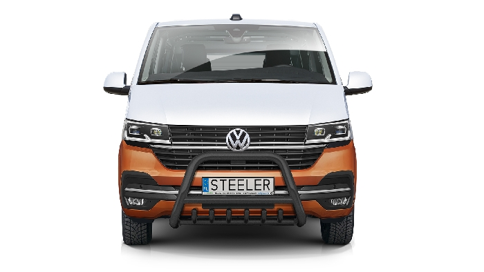 Frontschutzbügel Kuhfänger Bullfänger VW Transporter T6.1 2019-, Steelbar QRU 70mm, schwarz beschichtet